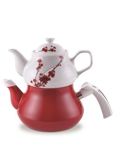 Schafer Tee Garten Emaye Çaydanlık Kırmızı